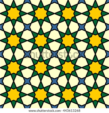 Islamic geometric art, arabic star pattern background, seamless abstract geometric pattern, vector illustration - stock vector