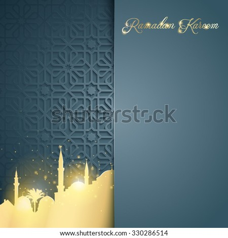 Islamic glow mosque on arabic pattern background for greeting of Ramadan Kareem - Translation : May Generosity Bless you during the holy month - stock vector