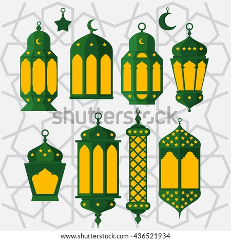 Islamic Holy Nights, Theme Design background, Ramadan lantern, saint fest, arabian and turk religion culture set vector
