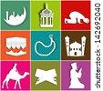 Islamic Icon Set on colorful background for Ramadan Kareem. - stock vector