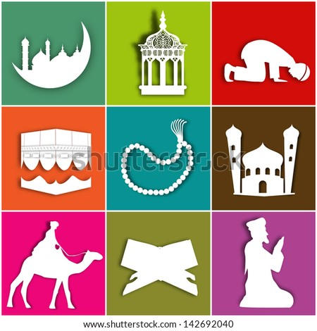 Islamic Icon Set on colorful background for Ramadan Kareem. - stock vector