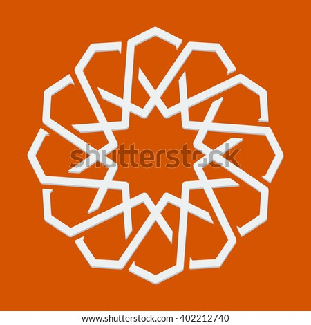 Islamic or arabic motif, sacred geometry, star mandala, round geometrical symbol for pattern, background or other purposes. Vector illustration - stock vector