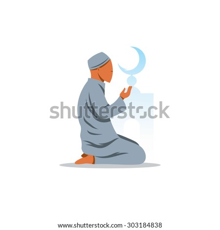 Islamic Prayer on his knees turned to God sign. Vector Illustration. Branding Identity Corporate logo design template Isolated on a white background - stock vector