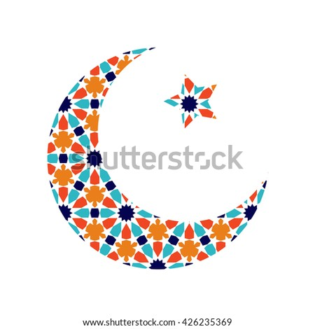 Islamic Ramadan Greeting Card Moon And Star Vector Illustration In Arabian Style