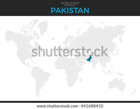 Islamic Republic of Pakistan location modern detailed vector map. All world countries without names. Vector template of beautiful flat grayscale map design with selected country and border location - stock vector