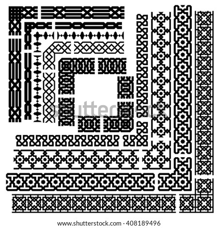 Islamic seamless vector line corner border stock vector royalty islamic seamless vector line and corner border set geometric repeating ornament thecheapjerseys Image collections