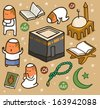 Islamic set flat. hand drawn Vector illustration - stock vector