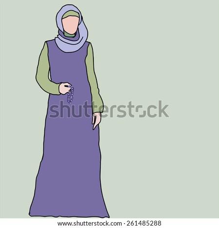 Islamic woman vector - stock vector
