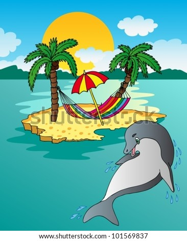Island and dolphin - vector illustration.