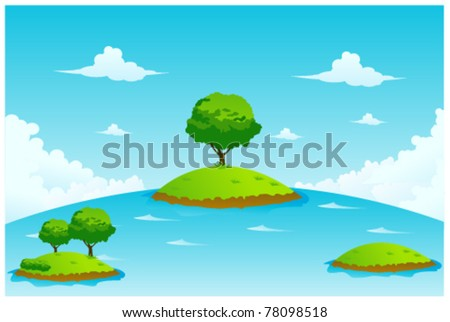 island and tree vector illustration - stock vector