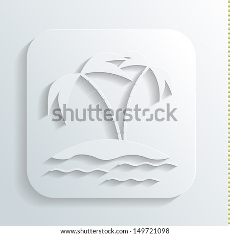 Island icon vector - stock vector