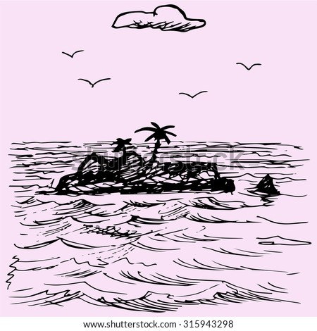 Island in the ocean, doodle style, sketch illustration - stock vector
