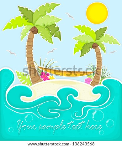Island in the sea (ocean) with palm trees, tropic flowers, hammock, stylized as paper application - stock vector
