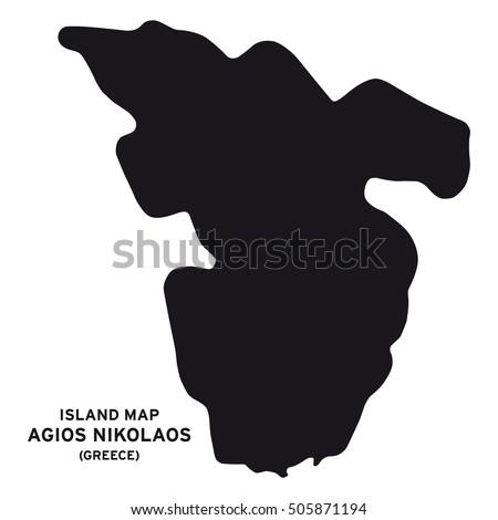 Island Map Agios Nikolaos Greece Stock Vector 505871194 Shutterstock