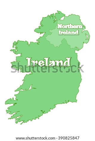 Island of Ireland. Map of Ireland. Island is divided the state border between the Republic of Ireland and Great Britain. United Kingdom. Republic of Ireland and Northern Ireland. Vector illustration