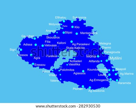 Island Lesbos Lesvos Greece Vector Map Stock Vector HD Royalty Free