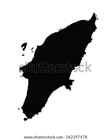 Island of Rhodes in Greece map, vector map isolated on white background. High detailed silhouette illustration. - stock vector