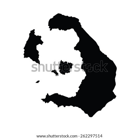 Island of Santorini in Greece map,vector map isolated on white background. High detailed silhouette illustration.  - stock vector