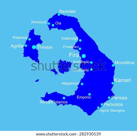 Island Santorini Greece Vector Map Isolated Stock Vector (Royalty ...