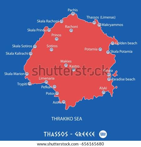 Island Thassos Greece Red Map Illustration Stock Vector 656165680