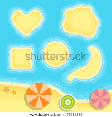 Island set, surf, umbrella, starfish, Vector illustration in flat, cartoon style isolated from the background, EPS 10