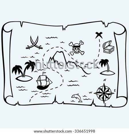 Island treasure map. Isolated on blue background. Vector silhouettes - stock vector