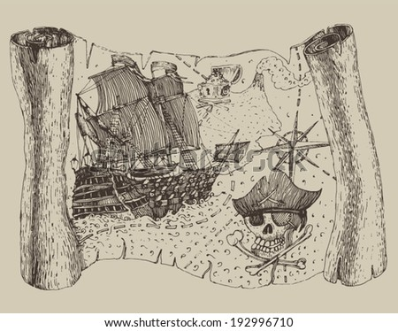 Island Treasure Map (pirate map), engraved illustration, hand drawn