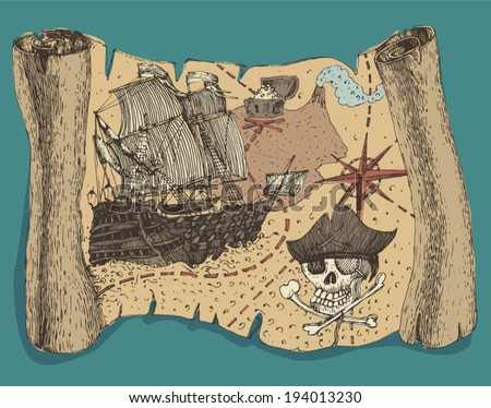 Island Treasure Map (pirate map), engraved, vector illustration, hand drawn