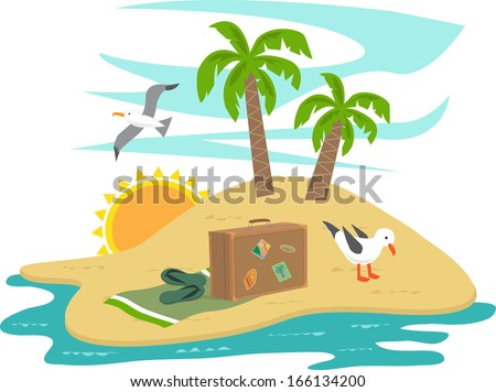 Island Vacation - Cartoon island with seagulls, trees and vacation items. Eps10