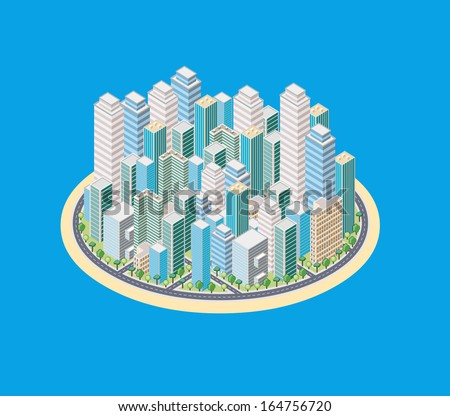 Island with a cartoon isometric city with buildings - stock vector
