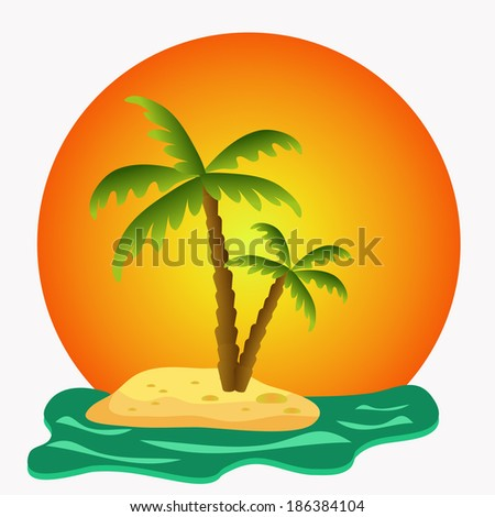 island with green palms illustration
