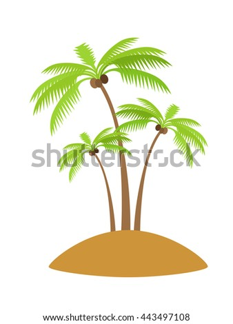 Island with palm tree silhouettes with coconut. Vector illustration isolated on white background