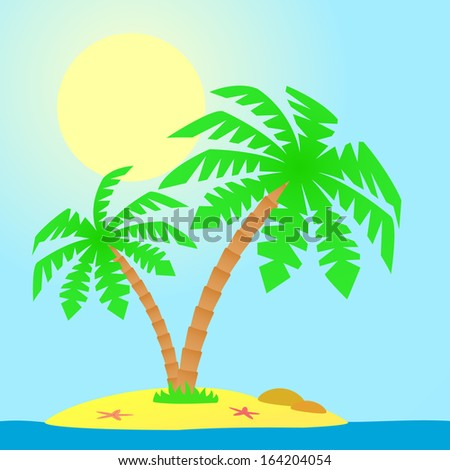 Island with palm trees.