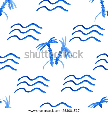 island with palm trees and waves painted in watercolor.seamless pattern