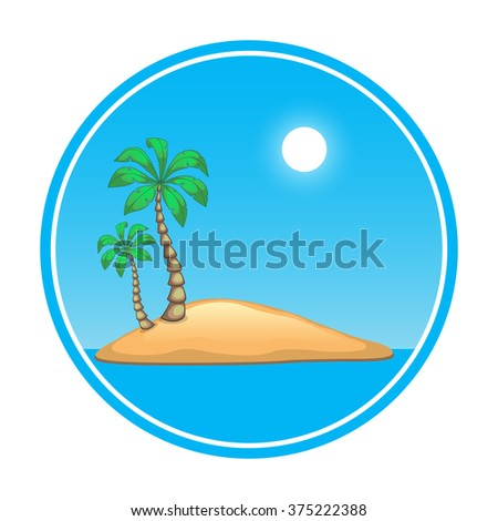 island with palms trees in the ocean under the sun for your design