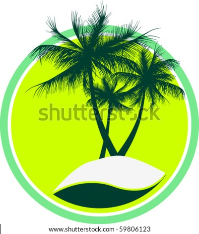 Island with three trees in a circle - stock vector