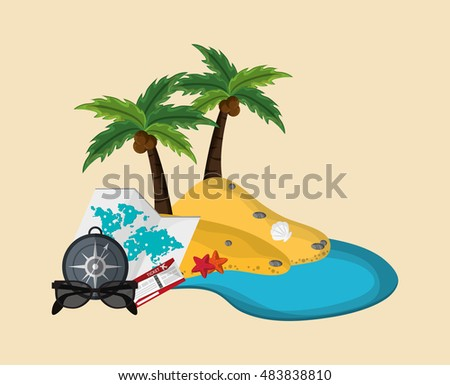 island with vacation travel icons image