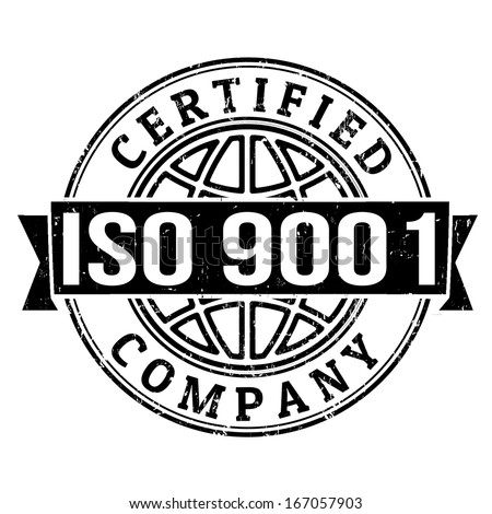 ISO 9001 certified grunge rubber stamp on white, vector illustration