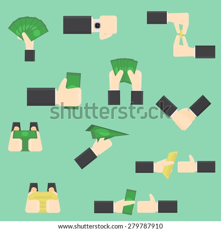 isolate illustration of hands with moneys - stock vector