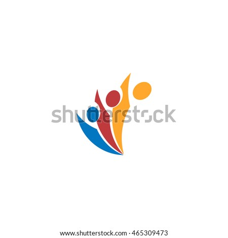 Isolated abstract colorful people vector logo. Human silhouette logotype. Minimalistic illustration. Community sign. Teamwork activity icon. Unity symbol. Social network element.