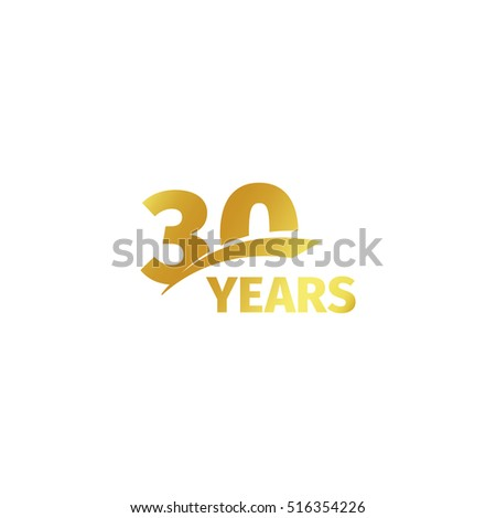 Isolated Abstract Golden 30th Anniversary Logo Stock Vector 2018
