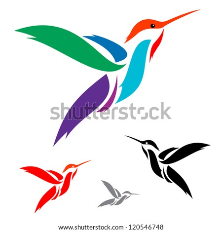 Isolated abstract humming bird in white background - stock vector