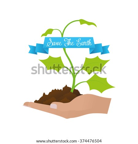 Isolated abstract illustration with text and natural elements for earth day