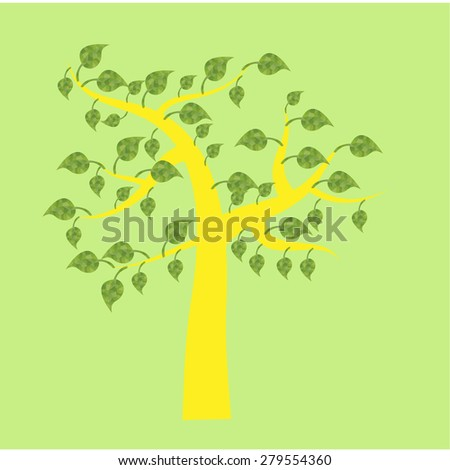 Isolated abstract tree on a colored background. Vector illustration