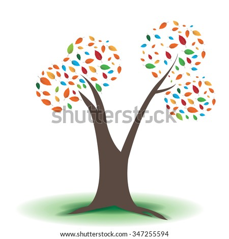 Isolated abstract tree on a white background