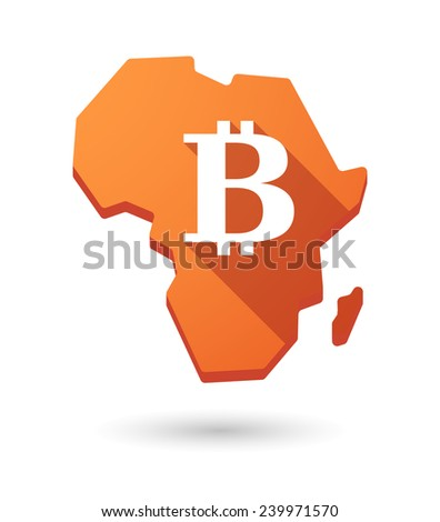 Isolated Africa continent map icon with a currency sign - stock vector