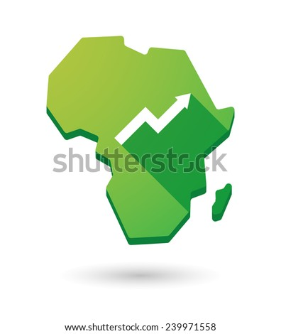 Isolated Africa continent map icon with a graph - stock vector