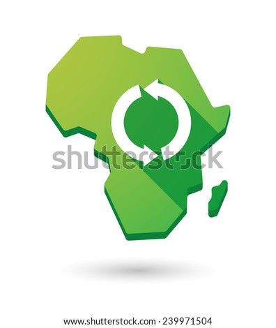 Isolated Africa continent map icon with a recycle sign - stock vector