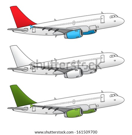 Isolated airplane vector design in different color schemes - stock vector