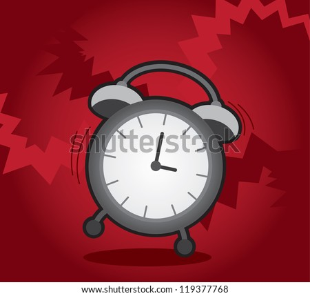 Isolated alarm clock ringing and shaking - stock vector